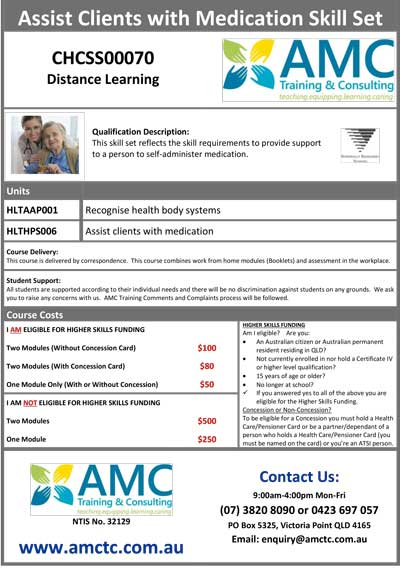 AMCTC Medication Skill Set Flyer 2019 08 19 V3 General 1