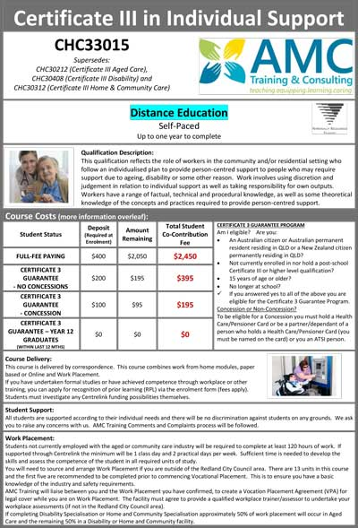 Promotional Flyer DISTANCE 2018 Cert III Individual Support CHC33015 V7 2019 08 06 1