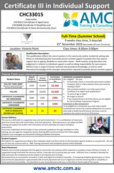 Promotional Flyer Summer School 2019 Cert III Individual Support CHC33015 V1 2019 09 02 1