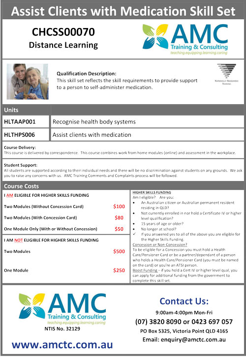 AMCTC Medication Skill Set Flyer 2020