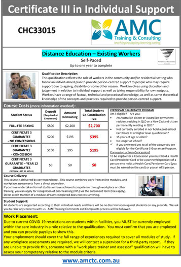 Promotional Flyer DISTANCE 2019 Cert III Individual Support CHC33015 V8